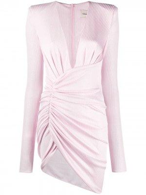 Короткое платье в рубчик Alexandre Vauthier. Цвет: розовый