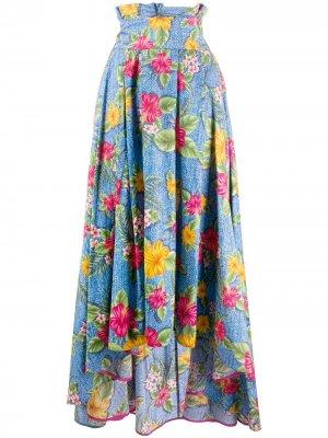 Юбка макси с цветочным принтом Ultràchic. Цвет: синий