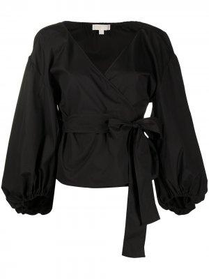 Блузка с запахом и V-образным вырезом Michael Kors. Цвет: черный
