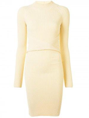 Платье с вырезами и драпировкой Dion Lee. Цвет: желтый