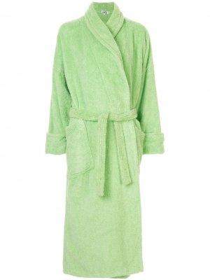 Халат с вышитым логотипом pre-owned Hermès. Цвет: зеленый
