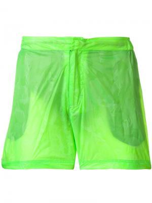 Неоновые пляжные шорты Islang. Цвет: зеленый