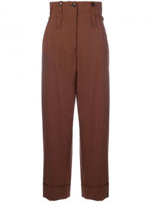 Брюки в полоску с завышенной талией Jean Paul Gaultier Vintage. Цвет: коричневый