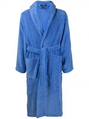 Халат с вышитым логотипом Polo Ralph Lauren. Цвет: синий