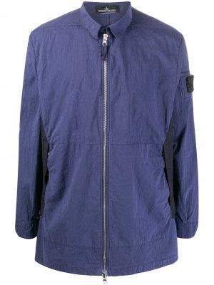 Куртка-рубашка с нашивкой-логотипом Stone Island Shadow Project. Цвет: синий
