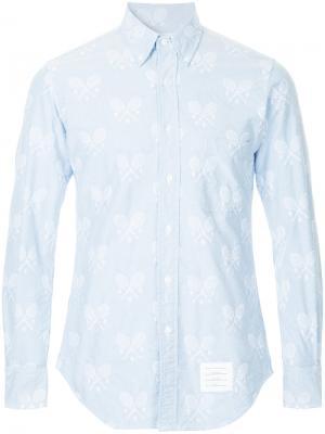 Рубашка с вышитыми теннисными ракетками Thom Browne. Цвет: синий