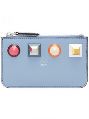 Ключница с заклепками и логотипом Fendi. Цвет: синий