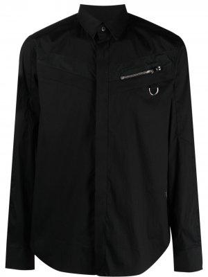 Рубашка со вставками Les Hommes. Цвет: черный