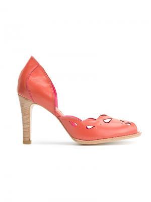 Лодочки с открытым носком Sarah Chofakian. Цвет: жёлтый и оранжевый