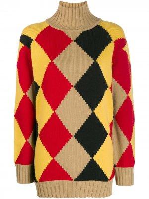 Джемпер с высоким воротником и графичным узором аргайл Pringle of Scotland. Цвет: желтый