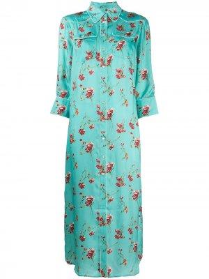 Платье-рубашка с цветочным принтом R13. Цвет: зеленый