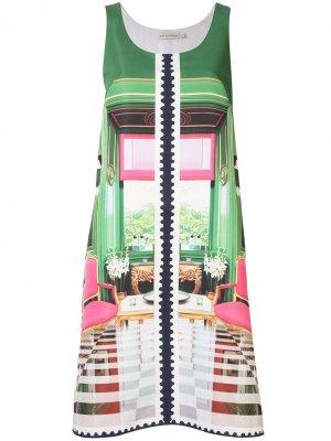 Платье А-силуэта с принтом Mary Katrantzou. Цвет: зеленый