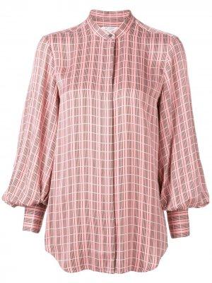 Рубашка в клетку свободного кроя Equipment. Цвет: розовый
