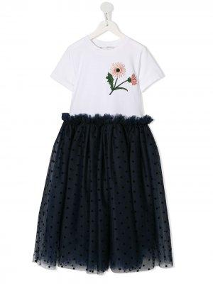 Платье с контрастной вышивкой Oscar De La Renta Kids. Цвет: белый