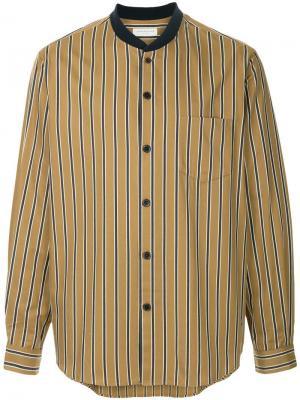 Полосатая рубашка с воротником шалька Tomorrowland. Цвет: коричневый