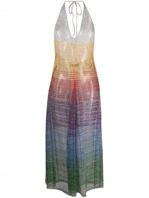 Пляжное платье с вырезом халтер Missoni Mare. Цвет: оранжевый