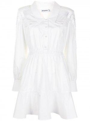 Платье с эластичным поясом и кружевными вставками Self-Portrait. Цвет: белый