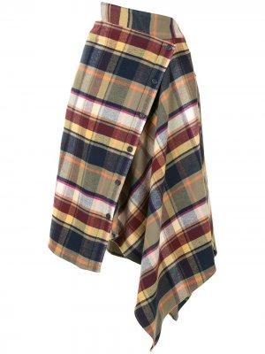 Клетчатая юбка асимметричного кроя Ground Zero. Цвет: разноцветный