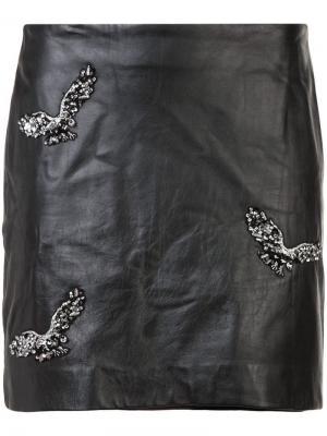 Прямая юбка мини Nicole Miller. Цвет: черный