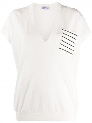 Рубашка с карманом в полоску Brunello Cucinelli. Цвет: белый