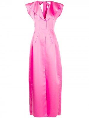 Вечернее платье с V-образным вырезом Maison Rabih Kayrouz. Цвет: розовый
