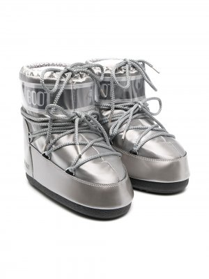 Зимние сапоги с логотипом Moon Boot Kids. Цвет: серебристый