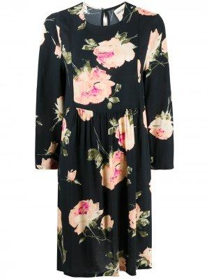 Платье мини с цветочным принтом Semicouture. Цвет: черный