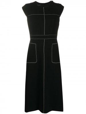 Платье без рукавов с контрастной строчкой Escada. Цвет: черный