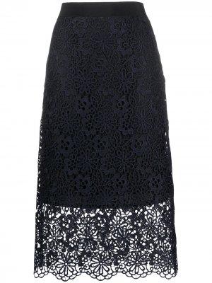 Многослойная кружевная юбка Victoria Beckham. Цвет: синий