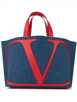 Пляжная сумка  Garavani с логотипом VLogo Valentino. Цвет: синий