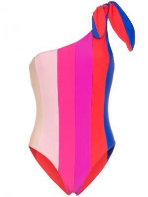 Полосатый купальник на одно плечо Paper London. Цвет: rainbow stripe