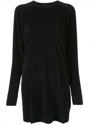Бархатное платье-толстовка James Perse. Цвет: черный