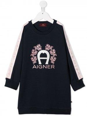 Платье-джемпер с логотипом Aigner Kids. Цвет: синий