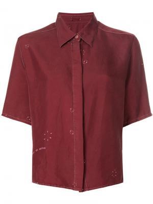 Рубашка с коротким рукавом Hermès Vintage. Цвет: красный