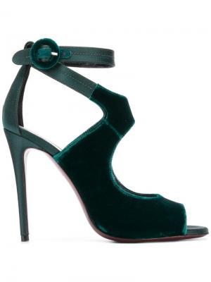Босоножки с пряжкой и открытым носком Deimille. Цвет: зеленый