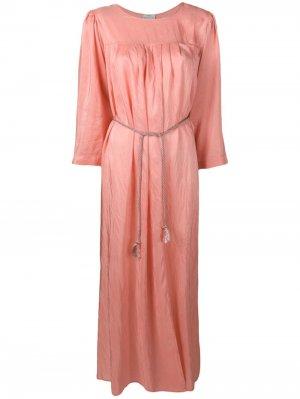Длинное платье-туника со складками Forte. Цвет: розовый