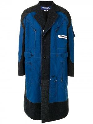 Пальто миди со вставками Junya Watanabe MAN. Цвет: синий