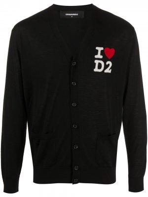 Кардиган I Heart D2 Dsquared2. Цвет: черный
