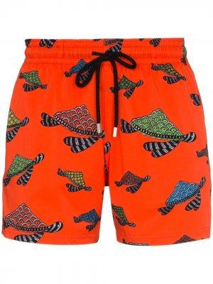 Плавки-шорты Moorise с принтом Vilebrequin. Цвет: оранжевый