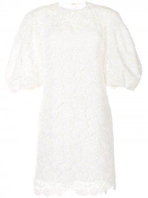 Кружевное платье с пышными рукавами Carolina Herrera. Цвет: белый