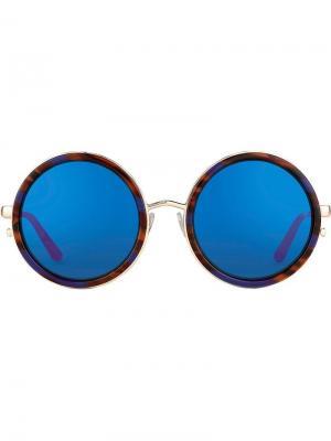Солнцезащитные очки в круглой оправе Matthew Williamson. Цвет: красный