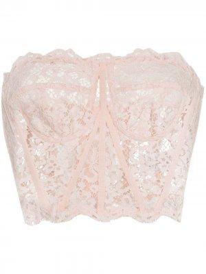 Топ-бюстье с цветочным кружевом Dolce & Gabbana. Цвет: розовый