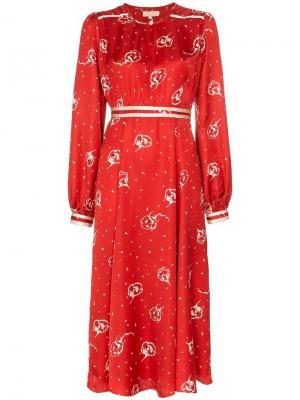 Floral print midi dress By Timo. Цвет: красный
