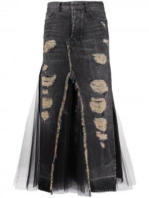 Джинсовая юбка с прорезями и вставкой из тюля UNRAVEL PROJECT. Цвет: черный