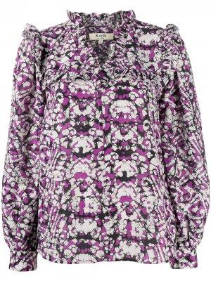 Блузка с геометричным принтом и оборками Sea. Цвет: фиолетовый