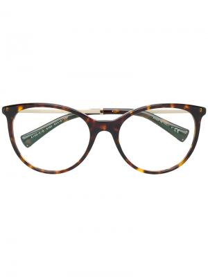 Большие очки в черепаховой оправе Bulgari. Цвет: коричневый