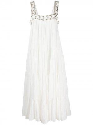 Ярусное платье миди с заклепками Mes Demoiselles. Цвет: белый