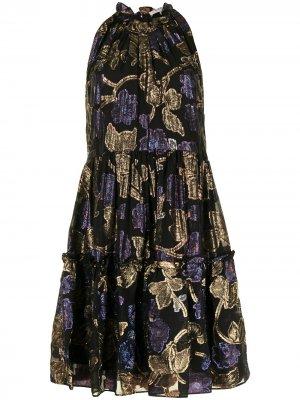 Платье с оборками и цветочной вышивкой Sea. Цвет: черный