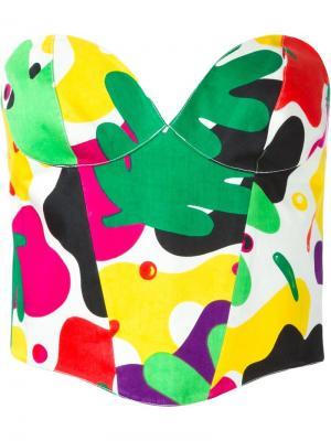 Бюстье с камуфляжным принтом Thierry Mugler Vintage. Цвет: желтый