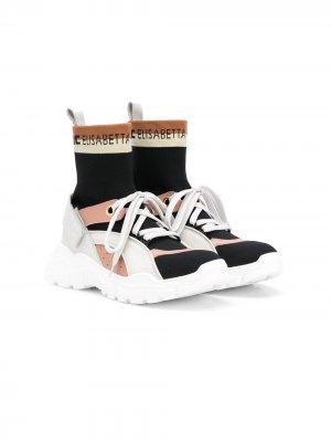 Трикотажные кроссовки с логотипом Elisabetta Franchi La Mia Bambina. Цвет: черный